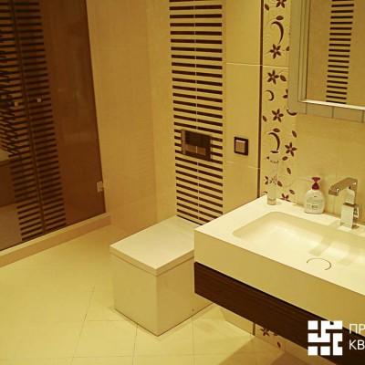 Ремонт квартиры на Крестовском острове, фотоотчет. Ванная комната в минималистичном стиле