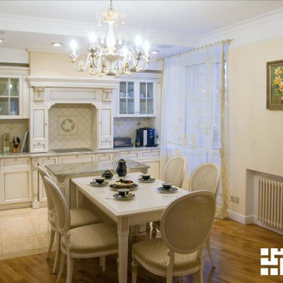 Ремонт квартиры на проспекте Славы. Гостиная-кухня, вид из гостиной