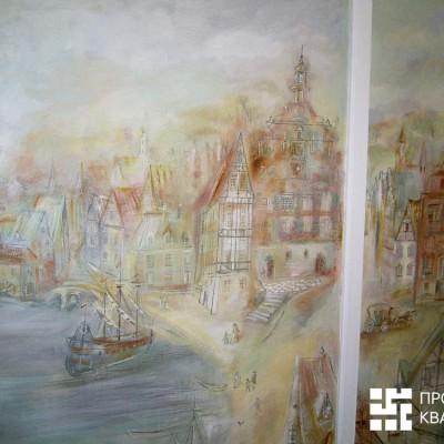 Ремонт квартиры на Дрезденской. Роспись превратила комнату девочки в город из сказок Андерсена