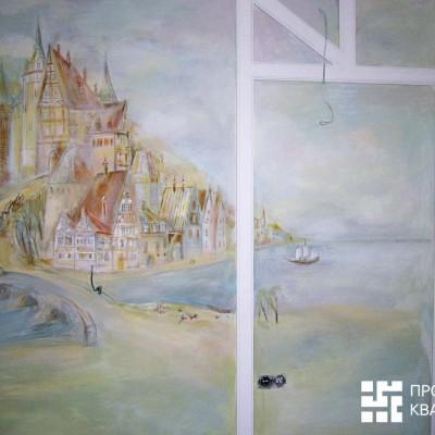 Ремонт квартиры на Дрезденской. Роспись над кроватью перед установкой бра, розеток, выключателей