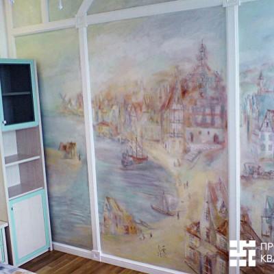 Ремонт квартиры на Дрезденской. Комната девочки. Очарование росписи подчёркивают гипсовые балки (тяги) и гипсовая лепнина