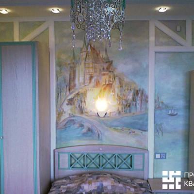 Ремонт квартиры на Дрезденской. Комната девочки. Сказочный зАмок над кроватью (роспись)
