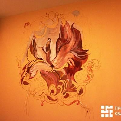 Ремонт квартиры на Орджоникидзе. Роспись стены в спальне (1/2 готовности); выведены провода для подключения бра