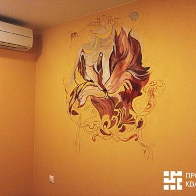 Ремонт квартиры на Орджоникидзе. Роспись стены в спальне (на фото роспись не закончена)