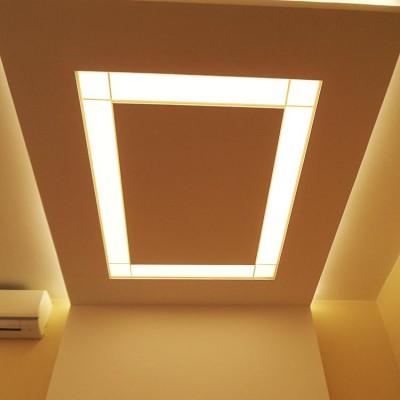 Ремонт квартиры на Жуковского. Светильник из гипрока в спальне