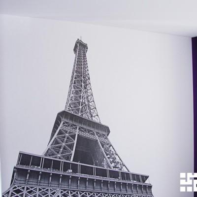 Ремонт квартиры на Королёва. Детская, фотообои с Эйфелевой башней (печать по индивидуальному заказу)
