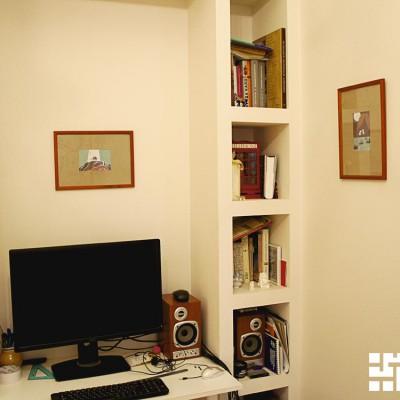 Ремонт квартиры на Жуковского. Ниша из ГКЛ с декоративными полками в гостевой