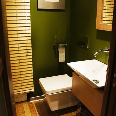 Малый санузел. Стены - водоэмульсионная краска. Пол - деревянная доска, покрытая лаком; алюминиевый плинтус
