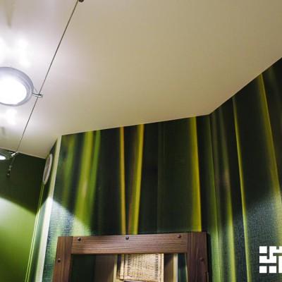 Коридор. Потолок из ГКЛ. Одна стена - водоэмульсионная краска; другая - фотообои со стеблями бамбука (печать под заказ)