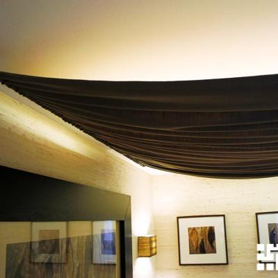 Потолочный светильник из ткани, вид сбоку