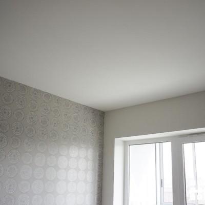 Комната. Два вида обоев идеально ровно подведены друг к другу и к потолку