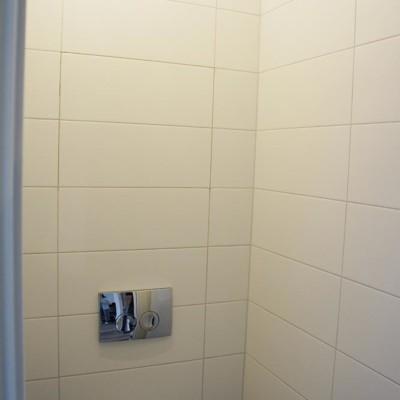 Ревизионный лючок в туалете. Дверца замаскирована в швах кафельной плитки